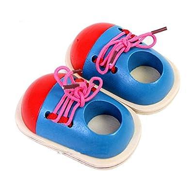 Highdas Cordones del lazo del juguete de aprendizaje, cordones de los zapatos de madera del cordón Juguetes, Desarrollo Educativo Temprano juguete de regalo para los niños pequeños para niños de Highdas network technology Co., Ltd