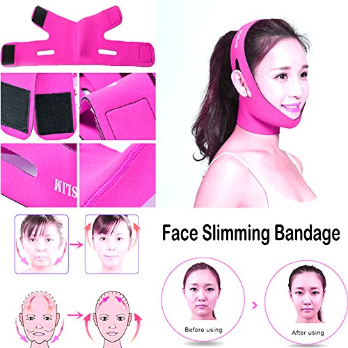 AlexVyan New 1 Pcs Special Design Best Material -Anti Ageing Beauty Face Slimming Chin Cheek Slim Lift Up Lifting V Line Belt Strap Mask Band Bandage - Universal Free Size - For Women Girl Female