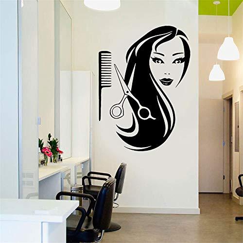Wandtattoo Schlafzimmer Friseursalon-Dekorations-Schönheits-Mädchen-langer Haar-Scheren-Kamm-Salon für Friseursalon - Feuerwehr-schlafzimmer-möbel