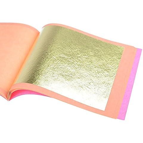 Pan de Oro Auténtico Suelto 22 kt, 85 X 85mm, Librillo de 25 Hojas