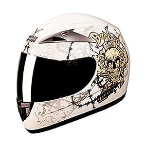 Studds Full Face Helmet - Scorpion D3 Decor with Mirror Visor-Matt White-L