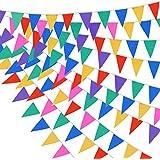 Multicolor Fanions Guirlande Banderole, Ishua 60 pcs PE Décoration Bannières Fanion et Bannière anniversaire mariage party avec Drapeau Triangulaire
