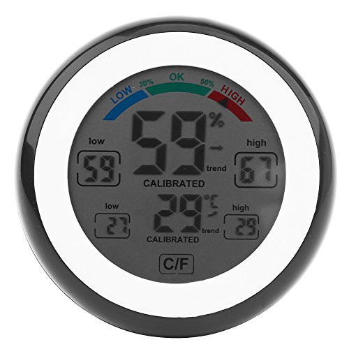 Schwarze Feuchtigkeit (Fdit Digital LCD Temperatur Thermometer Hygrometer drahtloses elektronisches Temperatur Feuchtigkeit Messgerät Meter ℃ / ℉ das Temperatur u. Feuchtigkeit (Schwarz))