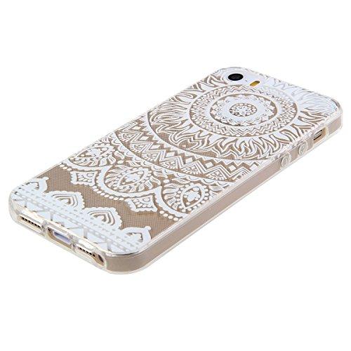 Coque pour iPhone 5C, Etui pour iPhone 5C, ISAKEN Transparente Ultra Mince Souple TPU Silicone Avec Blanc Dessin Etui Housse de Protection Coque Étui Case Cover pour Apple iPhone 5C (Ananas Blanc) Fleur E5