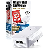 devolo dLAN 1200+ Wi-Fi AC Add-On Powerline Adapter (1200 Mbps, 1 x PLC Homeplug Adapter, 2 x LAN Ports, WiFi Signal Booster, range extender , whole home wifi, Ideal for Online Gaming, HD Streaming) - White