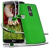 ( Green ) LG G2 D802 Schutz- Hybrid stark Shell-Haut-Kasten-Abdeckung mit LCD-Display Schutzfolie & Aluminium In-Ear Ohrhörer Stereo-Ohrhörer mit Hands Free Mic & On-Off-Taste Einbau durch Spyrox