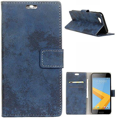 KM-WEN® Schutzhülle für HTC One A9S (5 Zoll) Bookstyle Retro Stil Gefrostet Muster Magnetverschluss PU Leder Wallet Case Flip Cover Hülle Tasche Schutzhülle mit Standfunktion Kartenfächer für HTC One A9S (5 Zoll) Blau