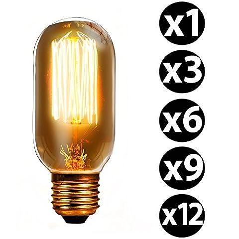 trellonics® langlebiges Premium Qualität Edison Glühbirne 40W E27Eichhörnchen Käfig Filament Classic Oval Radio Ventil Form Lampen–erhältlich als Einzelbett, 3, 6, 9, 12Packungen 40.0 wattsW