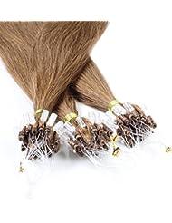 Just Beautiful Hair 200 x Microring Loop Extensions aus Premium-Echthaar, 60cm, 1g Strähnen, glatt - Farbe 8 hellbraun