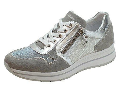 Nero Giardini Sneakers NeroGiardini per Donna in Pelle Argento e Camoscio Grigio Metal