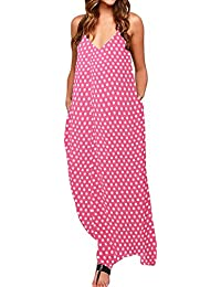 7559da8256d ZANZEA Women s V Neck Long Maxi Dress Sleeveless Baggy Boho Casual Beach Dress  Kaftan