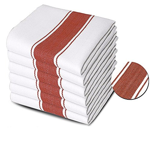 Xelay Pack of 6 Commercial Grade Kitchen Towels Dish Cloth Super Absorbent 100% Cotton Herringbone Weave Stripe 75 x 50cm (Red)