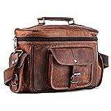 A.P. Donovan - Kameratasche aus Leder | Fototasche | Schultertasche | Umhängetasche für Fotozubehör (Kunstleder Braun)