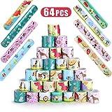 Ucradle 64Pezzi Fumetto Schiaffo Braccialetti Festa Slap Bracelets per Bambini, Divertenti e Super Slap Bands Colorati Idea Regalo per Bambini, Ragazze e Ragazzi