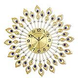 CYL Elektronische Wanduhr, Stille Quarzuhr Hängeuhr, Europäische Pfauendiamant-Mode-Uhr, Wanduhr, Wohnzimmer, Schlafzimmer, Wohnwand Kunstdekoration