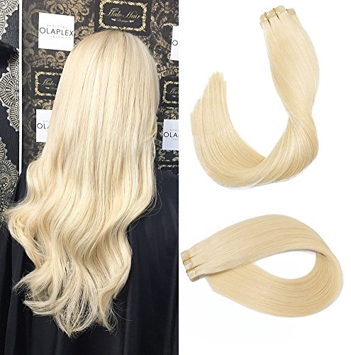 Tape In Echthaar Extensions Haare 24Zoll/60cm #60 Platinum Blonde 70g/ 20PCS Brazilian Remy Hair Tape In Haarverlängerungen seidige gerade Haut einschlag menschlichen Remy Haar