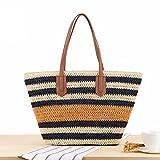 COIN Strandtasche Damen mit reißverschluss Stroh Schultertasche mit Blau Streifen Shopper mit...