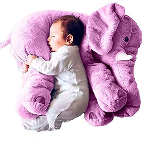 ADOO Baby Child Elephant Sleep Stuffed Soft Plush Cushion Plush Toys Best Gifts For Children, Two Size For Your Choice (Purple)