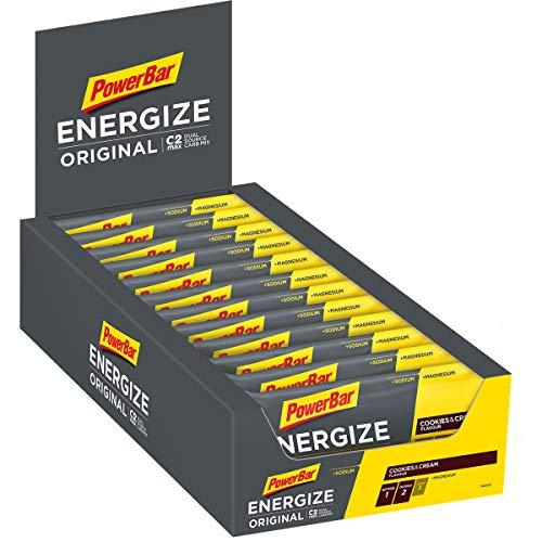 PowerBar Energieriegel Energize mit Magnesium und Natrium - Fitness-Riegel, Kohlenhydrate Riegel mit Hafer und Früchten bei erhöhtem Energiebedarf - 25 x 55 g Cookies und Cream