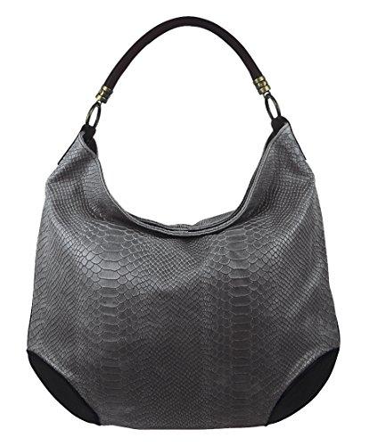 Damen Leder Tasche Henkeltasche Schultertasche mit Kroko Schlangen oder Blumen Prägung Dunkelgrau-Schlange