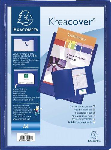 Exacompta 43502E Präsentationsmappe aus PP Krea Cover, format Din A4 Packung, blau (Präsentationsmappen Blaue)