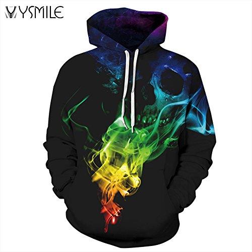 BYWLHNB Männer & Frauen Hoodies Harajuku Bunte Skull 3D Print Hoodie Hip Hop Sweatshirts Pullover Hooded Tops Trainingsanzüge, Schädel, XXXL (Für Halloween-peelings Frauen)