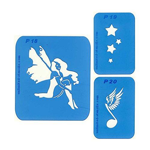 Best of Nr. 12: Set mit 3 Airbrush-Schablonen: Sterne, Musiknote mit Flügel, Fee mit Flügeln. Wiederverwendbare Schablonen für Airbrush-Tattoos und vieles mehr. bo012
