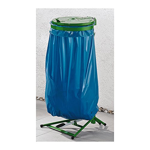Support sac-poubelle 120 L - Support fixe à pédale avec couvercle - piétement vert (Vert, Inox)