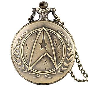 Bronze Star Trek Taschenuhr für Herren, Quarz-Taschenuhr, Crearive-Uhren für Jungen