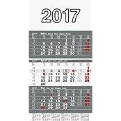 Rido/idé (7033310) Wandkalender/Drei-Monats-Kalender triplan 3 (1 Blatt = 3 Monate, 300 x 520 mm, Kalendarium 2017)