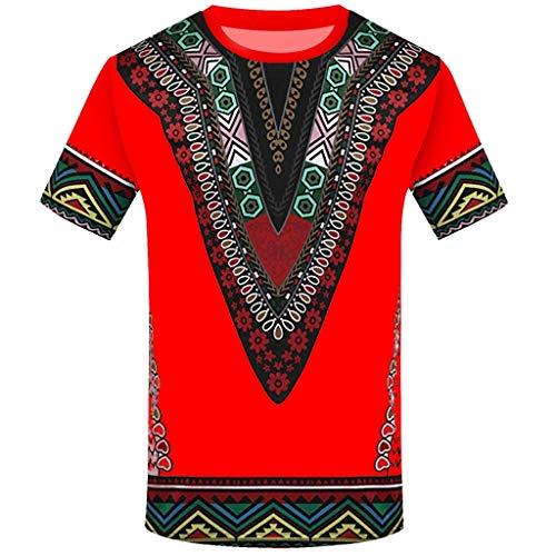 CICIYONER Bluse für Herren, Mode-afrikanisches gedrucktes T-Shirt der Männer Kurzarm Freizeithemd Tops Runder T-Shirt mit Runddruck im Ethno-Stil S-2XL