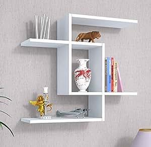 Even mensola da muro bianco mensola parete mensola for Libreria a muro bianca