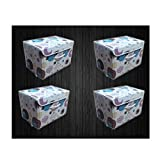 #6: VelKro Set of 4 Storage Basket for Kid's Toys office file Closet Wardrobe clothes dirty laundry games (Multi-Purpose, Light Weight,Foldable) - (Design May Very)