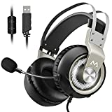 Casque Gaming Casque Gamer 7.1 Stéréo Surround Pro Gaming USB Casque Gamer PC Micro Casque Mpow EG3 Gaming Headset, USB 7.1 son Surround Surround Over-Ear Casque avec Contrôle du Volume et de La Lumière LED pour PC, Mac, PS4, Micro avec Commutateur, 18 Mois Garantie, 7.1 Virtual Speaker Shifter et Effets d'Environnement Personnalisé