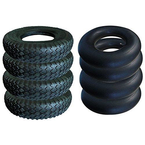 4x Reifen Mantel + 4x Schlauch Sackkarre Rad Schubkarrenrad Bereifung 4.00-8 (Reifen Und Räder)