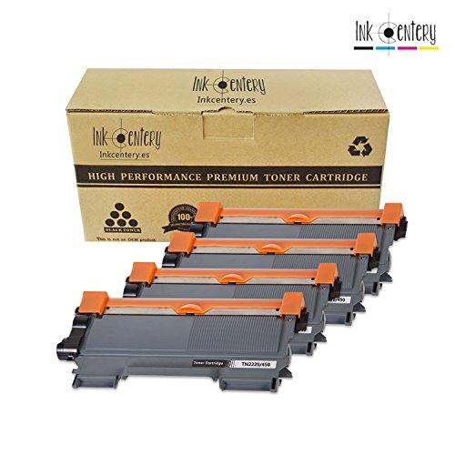 Ink Centery - Pack de 4 tóners compatibles con Brother TN2220, TN450, TN2200. Color negro, capacidad de impresión 2.600 páginas