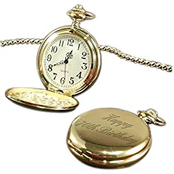Happy 70th Birthday pocket watch gold tone, personalised / custom engraved in gift box - pwg