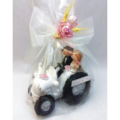 RegalosDeBodaOnline Figura Boda Novios Tractor GRABADA Figuras Personalizadas para Tarta