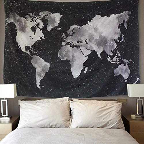 BLEUM CADE Starry World Map Tapestry Black & White Abstract Painting Wall Hanging Home Decor for Living Room Bedroom Dorm Room