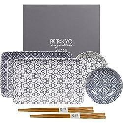 Tokyo Design Studio, Nippon Grey, Set mit 2 Teller + 2 Schalen + 2 Essstäbchen, 6-tlg., Porzellan aus Japan