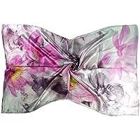 Bees Knees Fashion - Sciarpa - Rosa sciarpa lunga in seta grande stampa floreale di lusso puro
