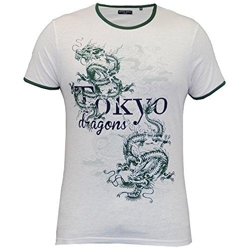 Herren T-shirt Brave Soul Kurzärmelig Tokyo Drachen Bedrucktes Top Rundhals Sommer weiß - 69EQUADOR