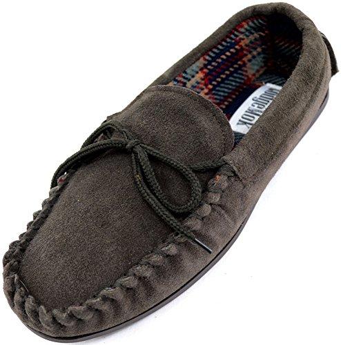 Pantofole a mocassino da uomo, in vera pelle scamosciata, con suola in gomma, stile tradizionale, marrone (brown), 41.5