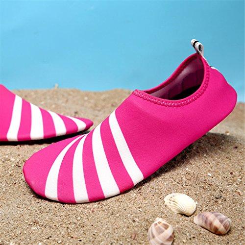 Blion Herren Damen Wasserschuhe Surfschuhe Aquaschuhe Strandschuhe Schwimmschuhe Barfußschuhe Breathable Schnell Trocknend 09 Rose rot