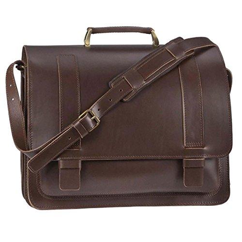 Ruitertassen Lehrertasche XXL 42cm Leder 3 Fächer Herren Damen Schultasche Aktentasche braun Büchertasche