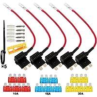 FULARR® 5Pcs Premium ACU Mediano Add-A-Circuit Fusible Tap Adaptador, Portafusibles