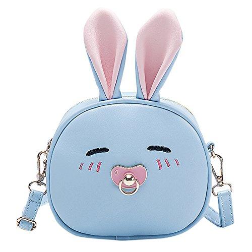 Happy Cherry Kinder Handtasche PU Leder Mädchen Tasche Kuschelig Häschen Kindergartentasche verstellbare Rucksack Girls Bag-Blau