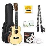 Elektro-Akustische Ukulele Fichte massiv 58,4 cm Gitarre Ukulele Kit mit Gurt Tuner Saiten Ukulele Gigbag Anleitungsheft für Anfänger MI2259