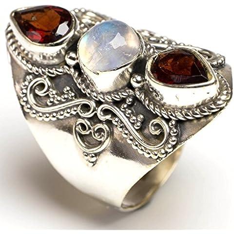 stargems (TM) Natural arco iris Piedra Lunar y granate único diseño anillo de plata de ley 925Us Tamaño 6