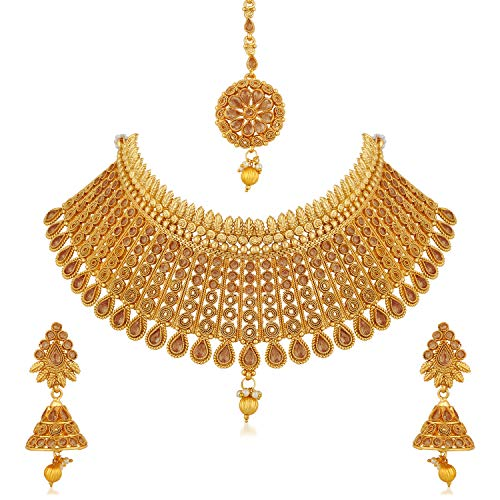 Apara Gold Plated LCT Jalebi Design Traditional Semi Bridal Choker Necklace Earring Maang Tikka Jewellery Set for Women